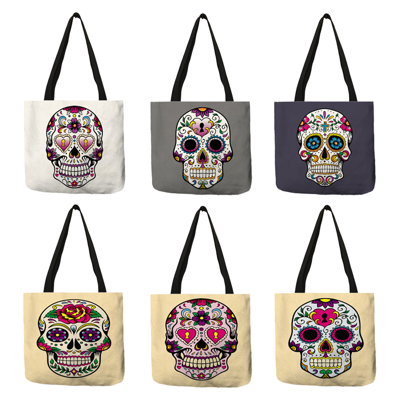 Unique Women Tote Bag Floral Skull Print Eco Linen Reusable Shopping Bags Casual Shoulder Bags