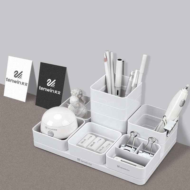 Tenwin White Blue DIY Desktop Storage Stationery Organizer Pen Desk Organizer Office Supplies Pen Holder Stand For Pens Pencil