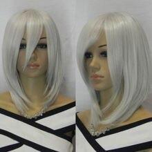 Горячий термостойкий > 38 см очарование средней длины плеча длина серебристо-серый прямой косплей полный парик
