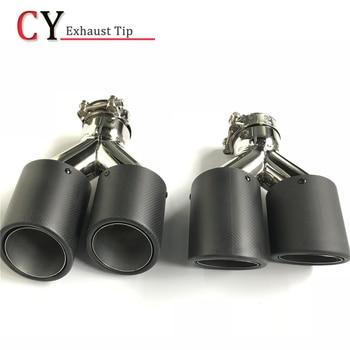1 par de tubos de escape rizados universales de doble cola de carbono, tubo silenciador de fibra de carbono para cualquier coche.