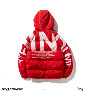Image 5 - Privathinker 2020 Thick Warm Men Winter Jacket Parka Casual Loose Harajuku Mens Oversized Parkas Coats Hooded Print Red Clothes