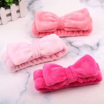 Big Rabbit Ears Coral Fleece Soft Elastic Hairbands SPA Bath Shower Make Up Wash Face headband Hair Band Girls Hair Accessories image