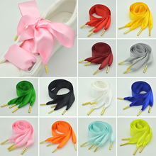 Double-Sided Silk Ribbon Shoelace 3.2cm Wide Shoe Laces Solid Color Black Red Pink Metal Head Shoelaces DIY Shoes Accessories цена