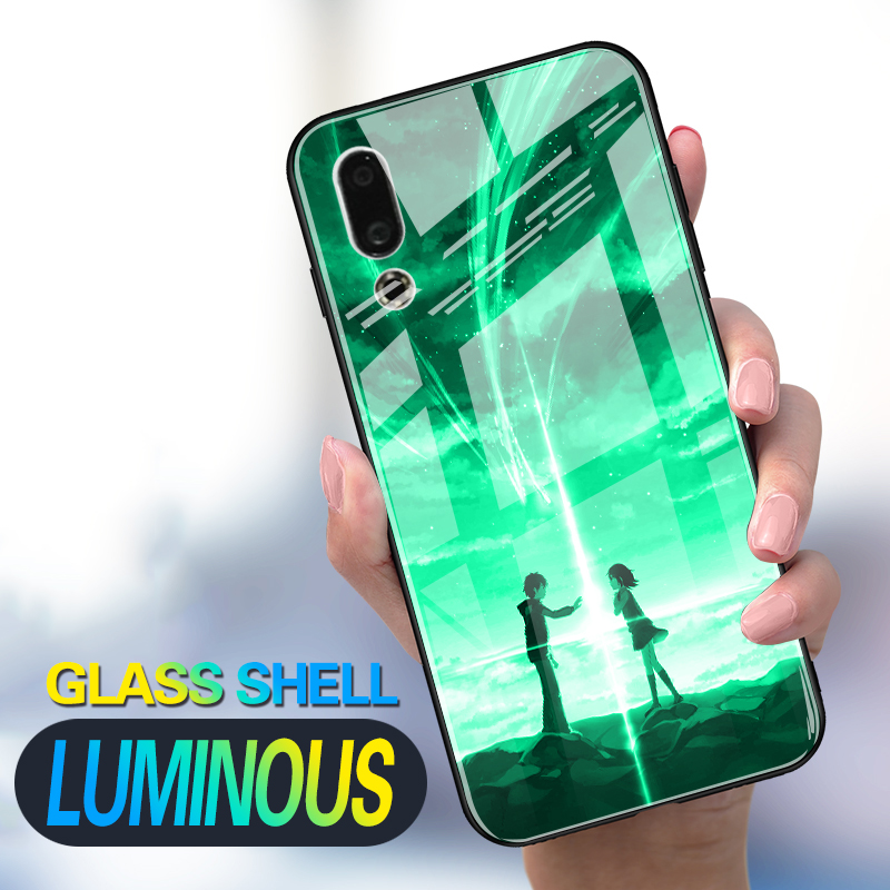 Luminous Tempered Glass Case For For Meizu 15 16X 16Th 16XS 16T 16S Pro Case Back Cover For Meizu M6s V8 Case Cover Cell Bag
