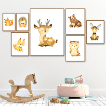 Deer Fox Bear Squirrel owl Animal Nordic Canvas Posters And Prints Wall Art Painting Pictures Baby Kids Room Decor