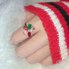 Flower inlaid zircon  natural red tourmaline colored gemstone opening adjustable ring female temperament live