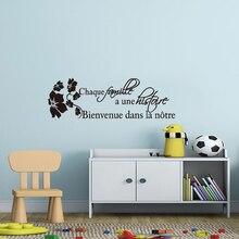Autocollant mural en vinyle, citation française, histoire de famille, décoration de maison