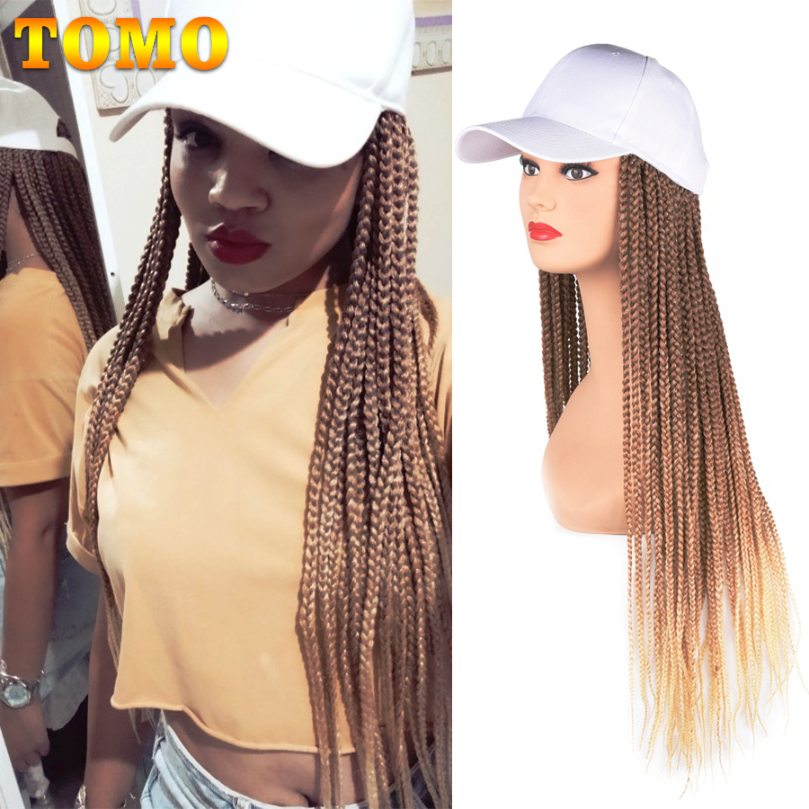 Long Synthetic Baseball Cap Wig with Braided Box Braids Wigs For Afro Black Women Daily Wear White Hat Wig Adjustable For Girls
