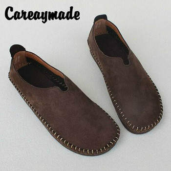 Careaymade-Spring Inner and Outer Leather Flat-soled Single Shoes Original Hand Pure Women's Shoes Literary Leisure Shoes