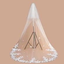 Boa qualidade tule macio 3 metros borda do laço catedral véu de casamento com pente duas camadas branco marfim véus de noiva veu noiva