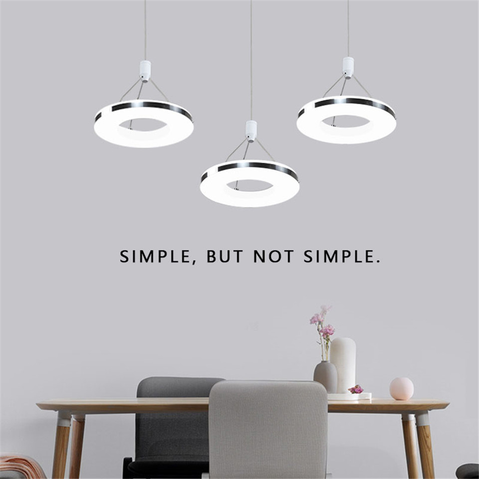 Postmodern Creative iron pendant lights Ring Dinner led Extremely Home hanging lights Dining Room pendant Lamp Mini hanglamp in Pendant Lights from Lights Lighting