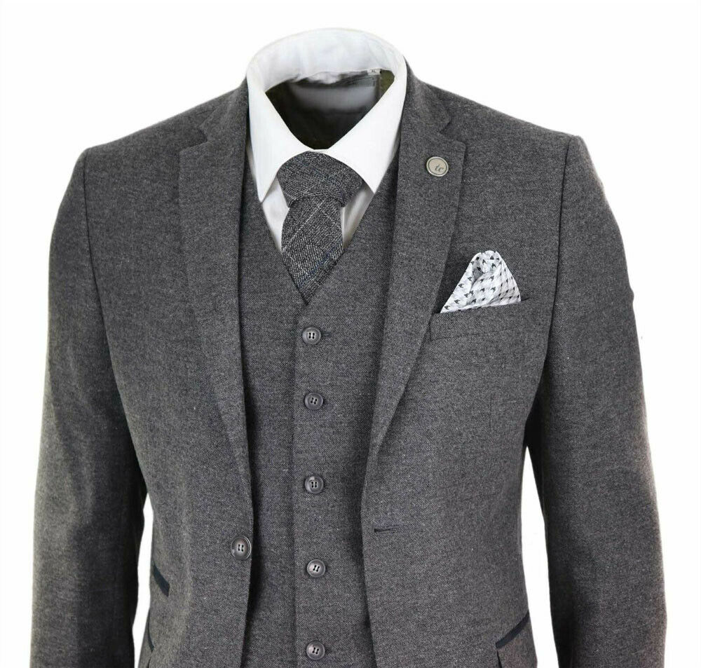 Grey Mens Suits Wool Tweed Peaky Blinders Suit 3 Piece Authentic 1920s Tailored Fit Classic Vintage Wedding Tuxedos