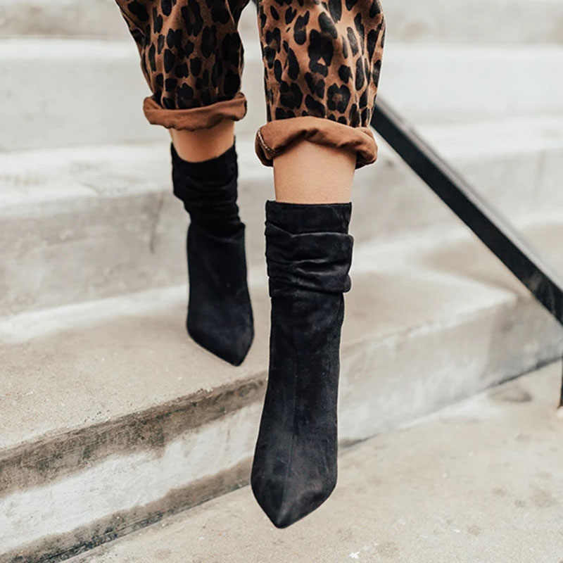 LITTHING kış yarım çizmeler kadın ince streç sivri burun çorap kare yüksek topuk çizmeler ayakkabı kadın moda Bota Feminina