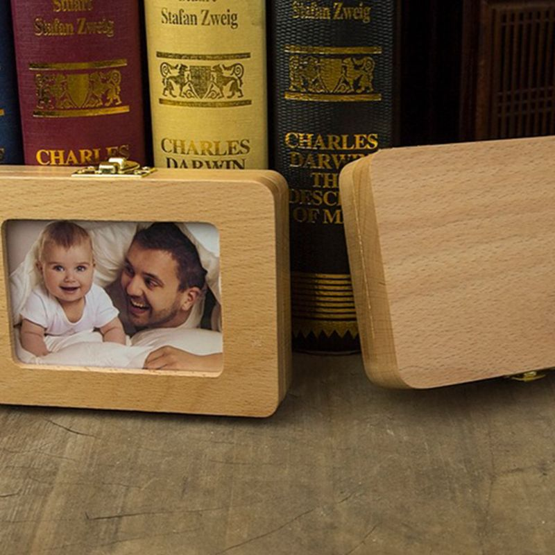Tooth House Children Baby Girls Boys Deciduous Teeth Box Wooden Frame Newborn Fetal Hair Storage Commemorative Save Boxes 72XC