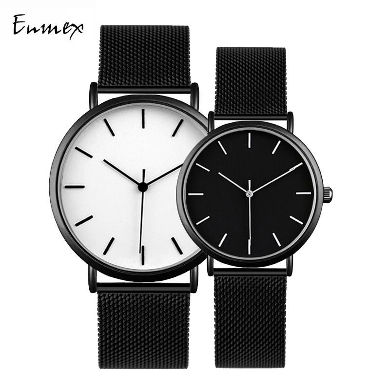 Enmex Cool Style Couple Wristwatch Brief Vogue Simple Stylish Black And White Stainless Steel Quartz Clock Fashion Watch