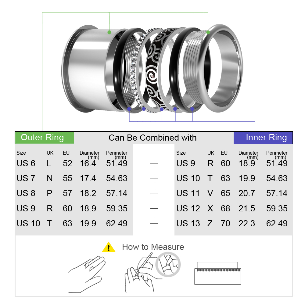 Image 4 - Cremo Titanium Rings Set Women Stackable Interchangeable Wedding  Band Arctic Symphony Meditation Base Ring Anillos MujerRings   -