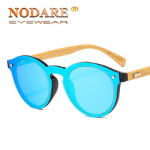 NODARE 2020 Hot Natural Wooden Sunglasses Men Fashion Brand Design Bamboo Leg Su