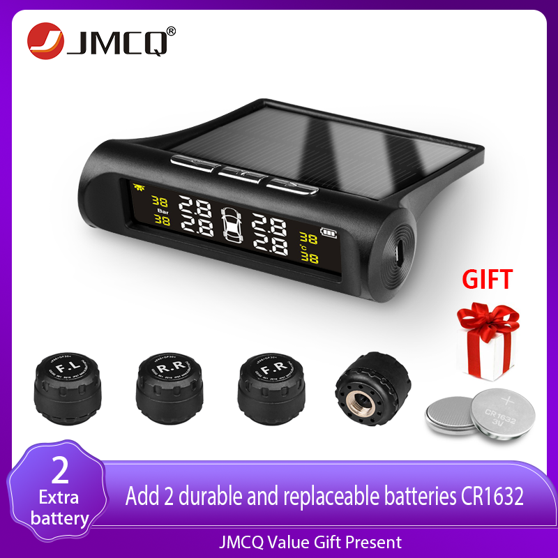 JMCQ Smart TPMS Solar Power Safety Car Tire Pressure Alarm System Lcd Power Digital LCD Display Auto Security Alarm Pressure