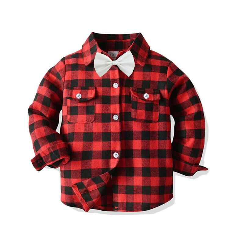 Emmaaby/Новинка года; классические рубашки в клетку с длинными рукавами и лацканами для мальчиков; сезон весна-осень топы с карманами; Повседневная рубашка для маленьких мальчиков детская одежда - Цвет: Красный