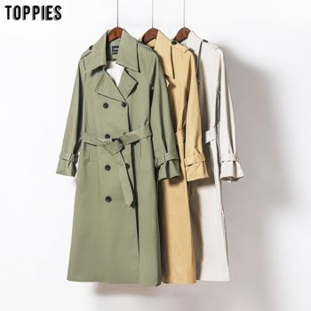 Toppies 2020 Autumn Long Coat Women Double Breasted Slim Trench Coat Korean Outwear
