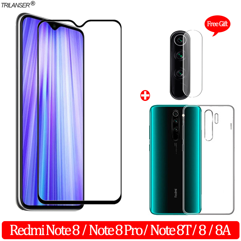 3-in-1 Glass + Case For Redmi Note 8 T 8A Screen Protector Tempered Glass Xiaomi-Redmi-8A Camera Protector Redmi Note 8Pro Glass