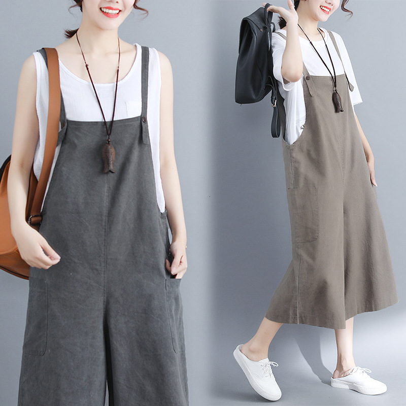 2019 Summer Wear New Style Korean-style Literature And Art Cotton Linen Suspender Strap Loose Pants Women's Fat Mm Thin Elastic