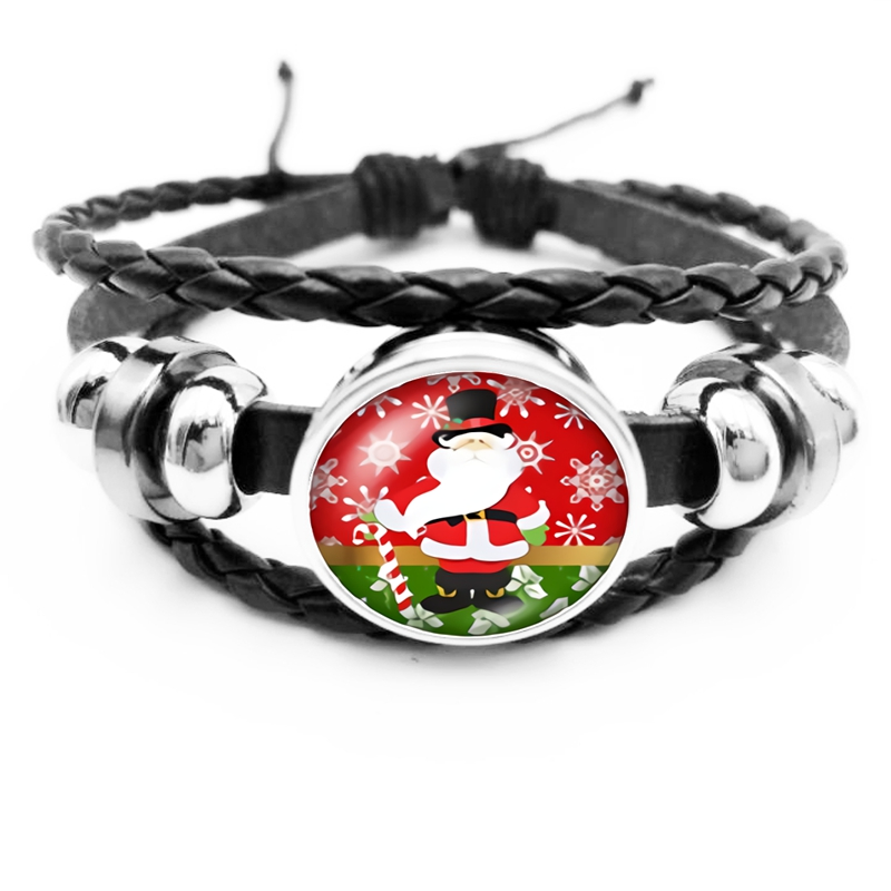 2019 Best Selling The Latest Cartoon Cute Santa Series Glass Convex Fashion Leather Men 39 s Bracelet Men 39 s Jewelry Gift in Charm Bracelets from Jewelry amp Accessories