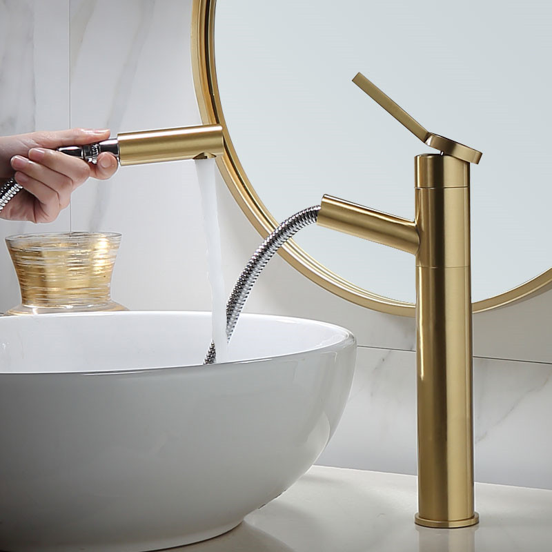 Bathroom Basin Faucets Brushed Gold Pull Type Rotating Solid Brass Hot & Cold Single Handle Sink Mixer Taps Lavatory Crane Tap