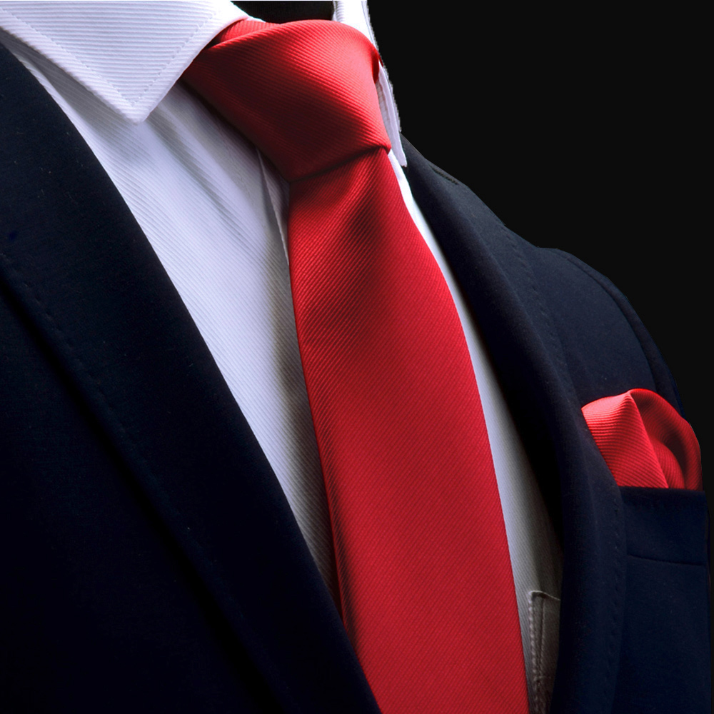 Ricnais Quality Tie Set For Mens 8cm Silk Necktie Handkerchief Sets Man Solid Red Gold Blue Neck Ties For Wedding Business Gift