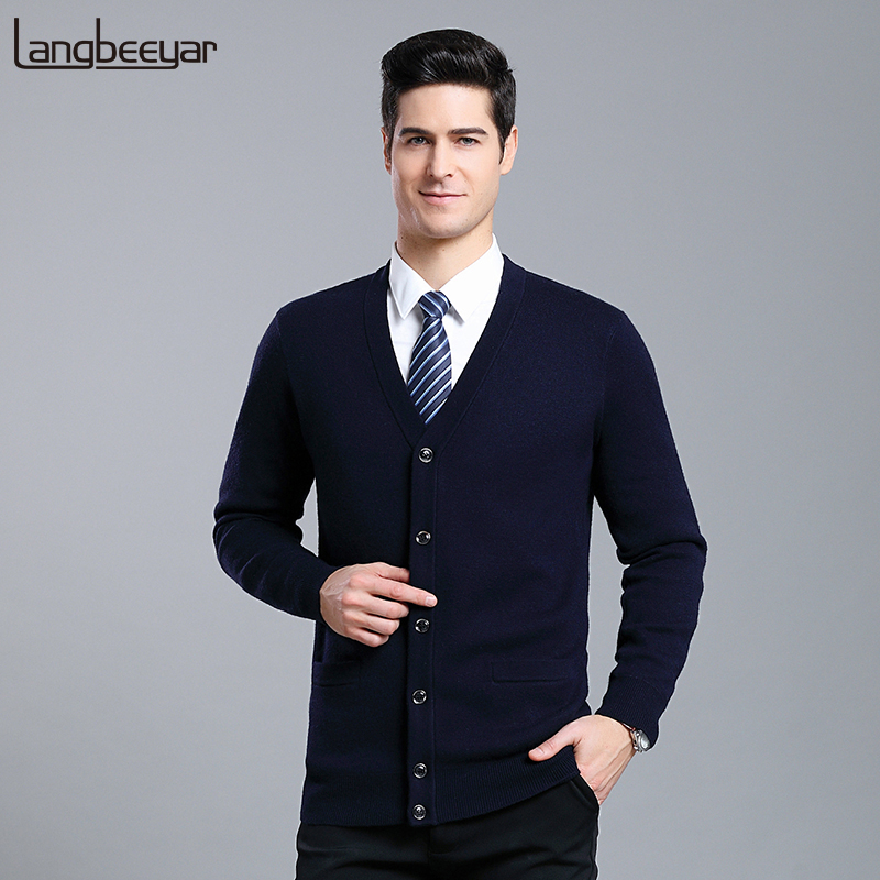 Thick 2019 New Fashion Brand High-quality Sweaters Men Cardigan V Neck Slim Fit Jumpers Knitwear Winter Casual Clothing Male