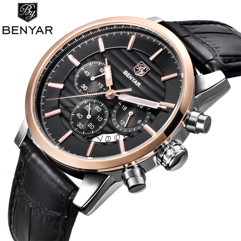 <font><b>BENYAR</b></font> Men Watches Brand Luxury Leather Strap Waterproof Sport Quartz Chronograph Military Watch Men Clock Relogio Masculino image