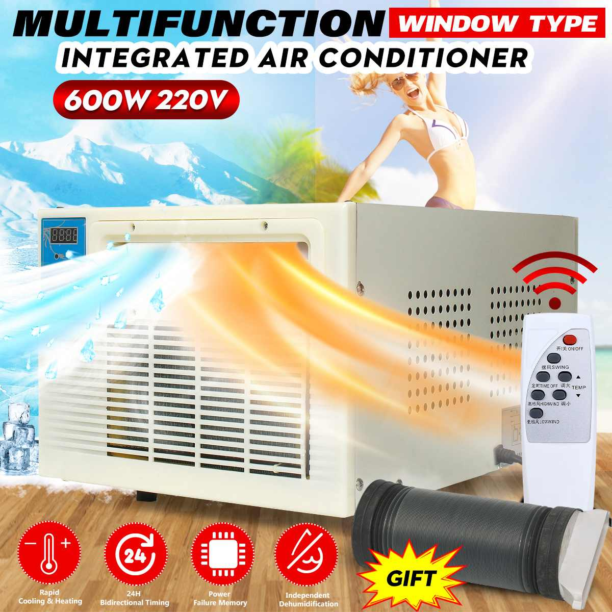 Air Conditioner 220V Dual Use Cooler Heater Desktop Remote Control LED Panel 24h Timer Air Conditioner With Free Exhaust Pipe