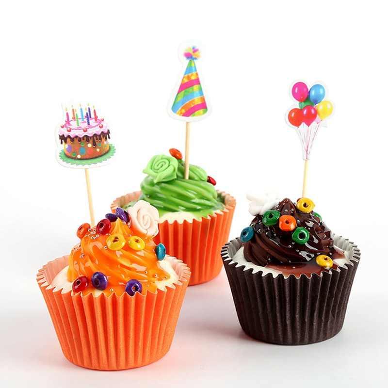 9pcs ชุดบอลลูนหมวก Cupcake Toppers Picks วันเกิดตกแต่งเด็กอาบน้ำเด็ก gilr Favors เค้กตกแต่ง