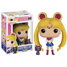 10cm Japanese Anime Sailor Moon Luna Cat Vinyl Action Figure brinquedos Collection Model Toys for  Girls Birthday gift
