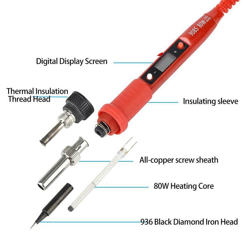1*Electric Soldering Iron 80W Digital Temperature Adjustable Electric Soldering Iron Weld Tin Pen 220V EU Plug New Arrivals
