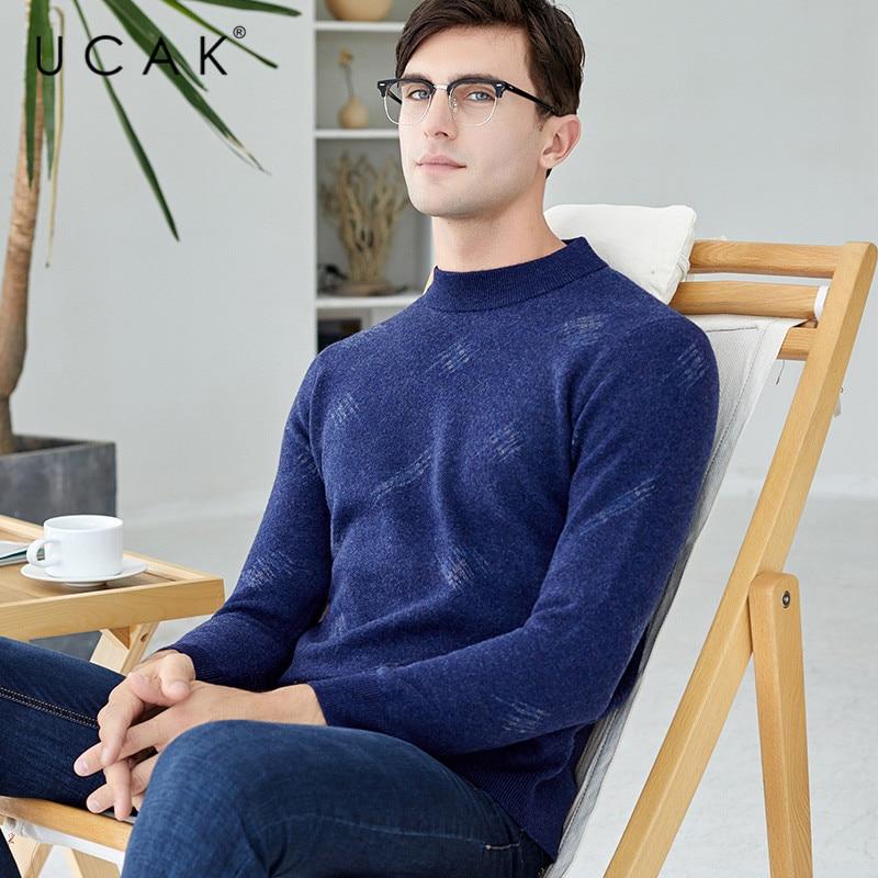 UCAK Tops Brand Sweater Men New Fashion Trend Pure Merino Wool Casual Autumn Winter Warm ThicK Streetwear Floral  Pullover U3150