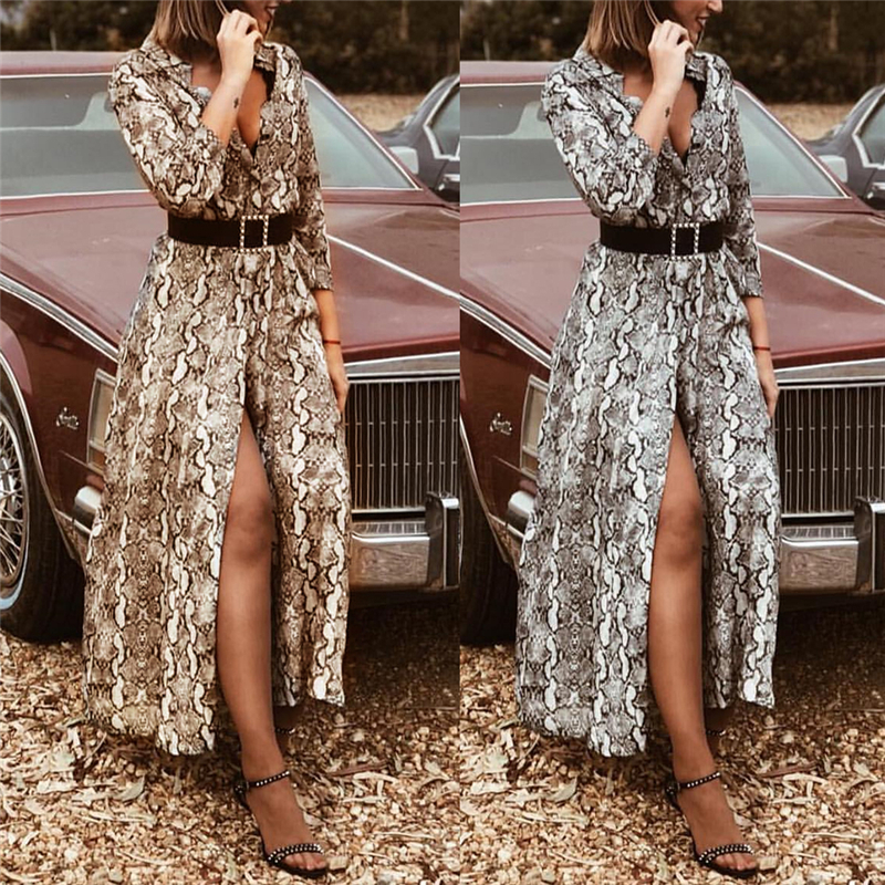 Модное женское осеннее платье с глубоким v-образным вырезом, длинным рукавом, леопардовым принтом, винтажные макси платья, женские вечерние ...