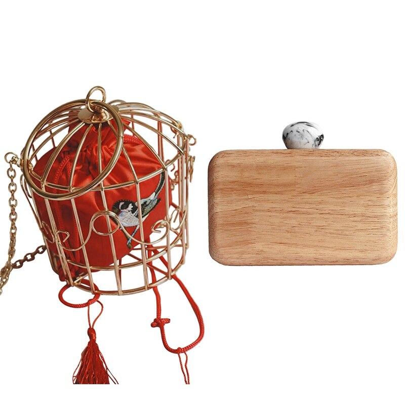 2 pièces pochette pour femmes: 1 pièces personnalité oiseau Cage sac à main fourre-tout en métal Cage filles Top-poignée sacs porte-monnaie et 1 pièces portefeuille rétro en