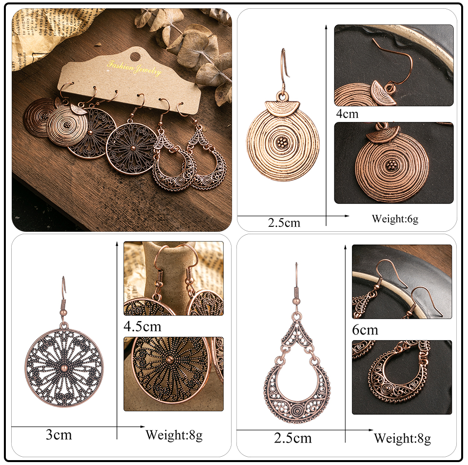 Ethnic Rose Gold Metal Tassel Fringe Womens Earrings Sets Jewelry Bohemia Vintage Round Circle Leaf Butterfly Geometric Drop Earrings Dropshipping Wholesale (11)