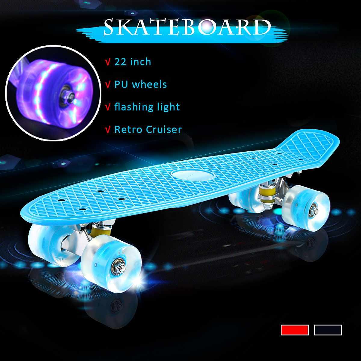 Mini Longboard de cuatro ruedas de 22 pulgadas, tabla de Skate de Color Pastel, monopatín con ruedas intermitentes LED, monopatín Retro