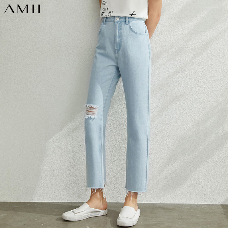 AMII Minimalism Spring Summer Hollow Out Light Blue Women Jeans Caual Straight Letter Printed Female Pants 12070216