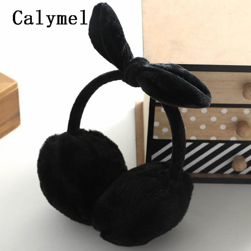 Calymel New Cute Winter Warm Earmuffs Plush Warm Lovely Cute Bow Warm Earmuffs Fur Headphones Winter Earmuffs