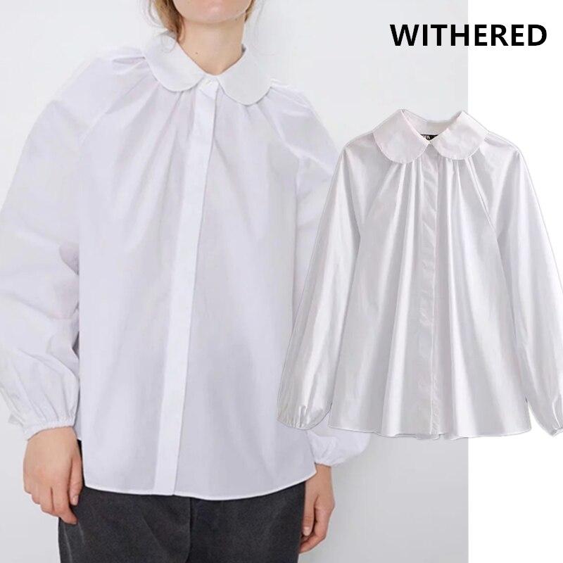 Withered england elegant vintage 100% cotton white peter pan blusas mujer de moda 2019 kimono shirt women womens tops and tshirt