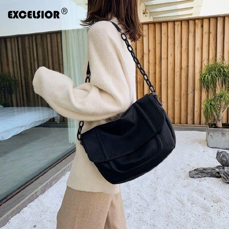 EXCELSIOR Big Capacity Tote PU Leather Women's Shoulder Bag Acrylic Strap Crossbody Bag Black Scub PU Handbags for Female 2020