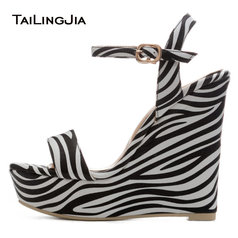 Zebra Wedge Heel Sandals Platform for Women Buckle Strap PU Leather Open toe New Arrival Large Size Ladies Elegant Party Shoes