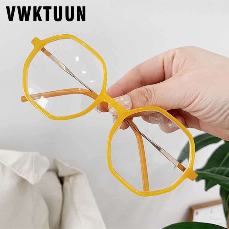 VWKTUUN Geometric Glasses Frame Big Eye Glasses Frames For Women Irregular Round Glasses Frames Optical Fake Glasses Frames