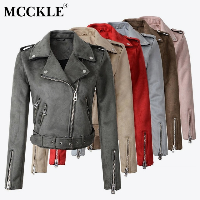 Women's Faux PU Leather Suede Short Jacket Multy Zipper Motorcycle Coat Womens 2020 Spring Fashion Biker Jackets Dropshipping