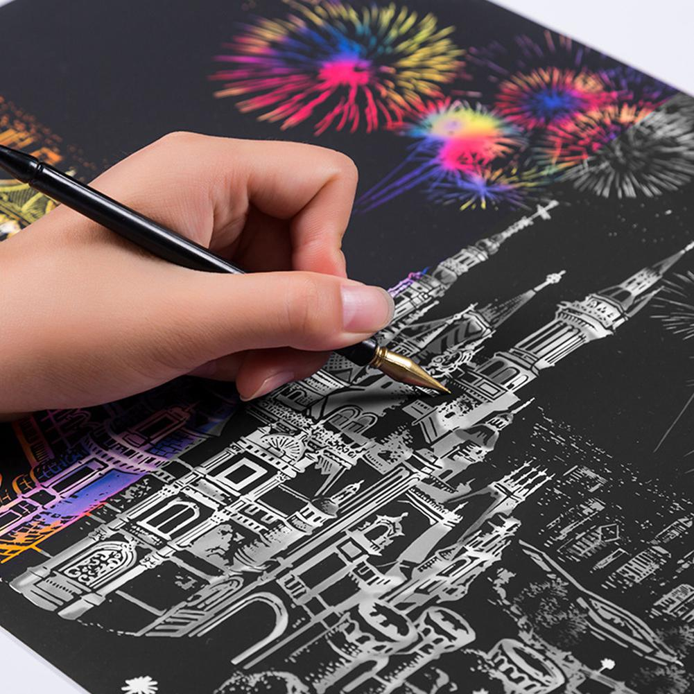 Kuulee Creative DIY Scratch Bright City Night View Scraping Painting World Sightseeing Pictures As Gifts