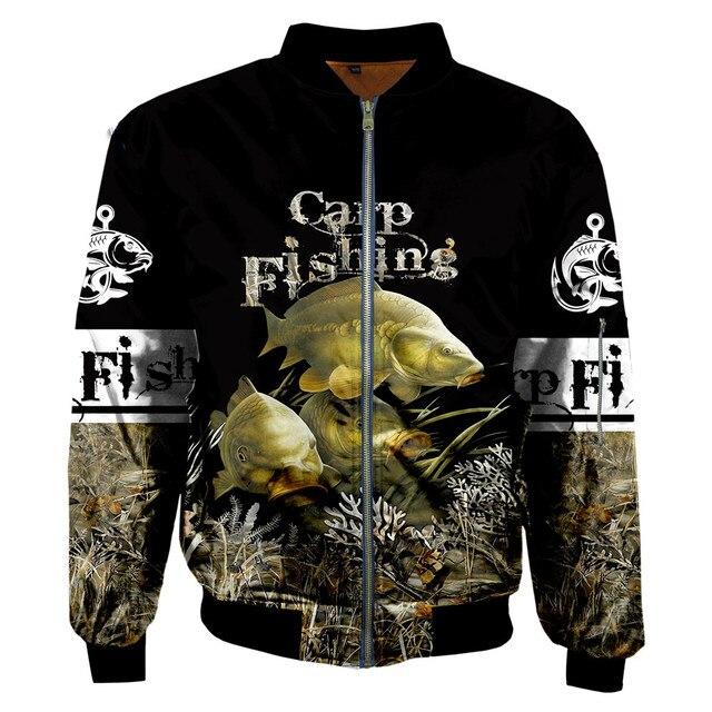Carp fishing zipped bomber jacket black