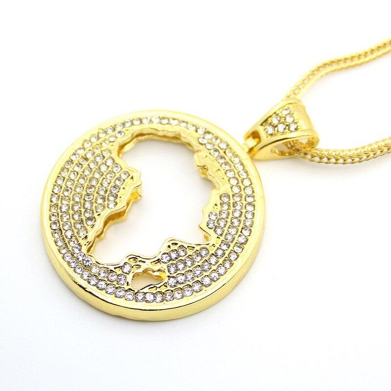 Hommes femmes carte africaine pendentif Hip Hop bijoux glacé Bling Bling alliage strass avec chaîne cubaine bijoux de mode